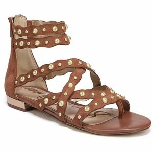 Sam Edelman | Brown/Gold Studded Sandals